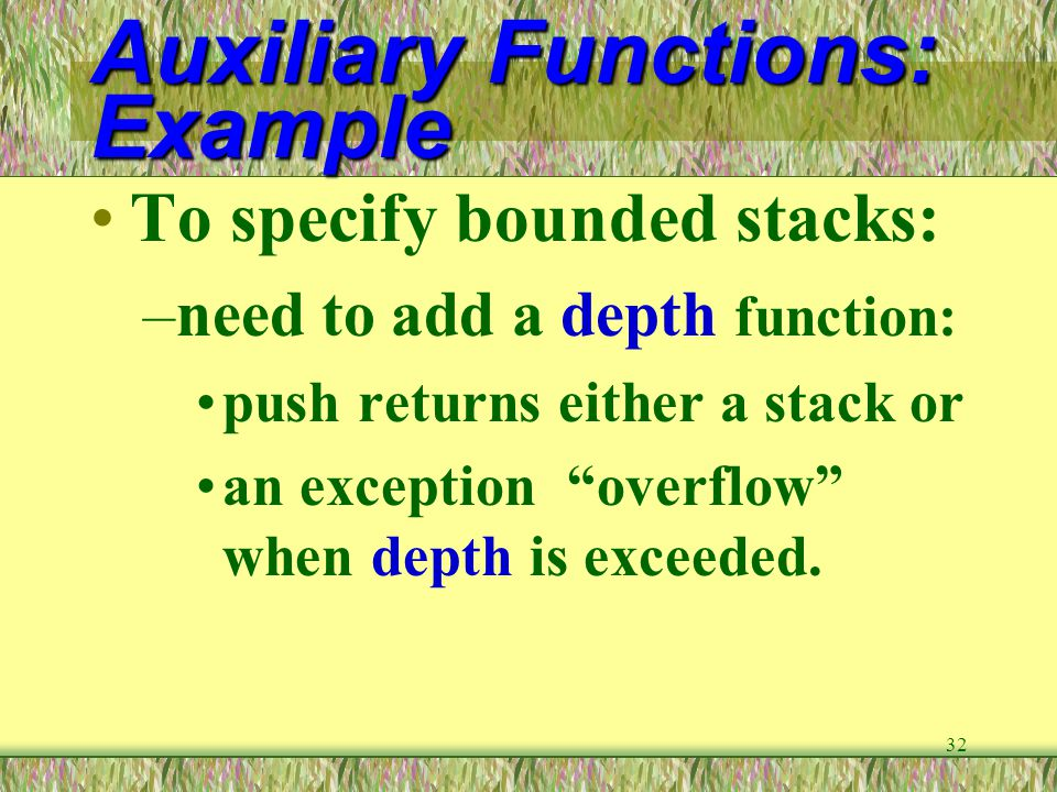 Auxiliary Functions: Example