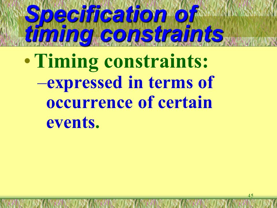 Specification of timing constraints