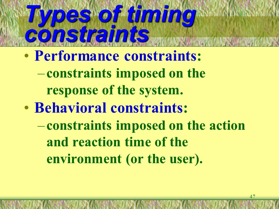 Types of timing constraints