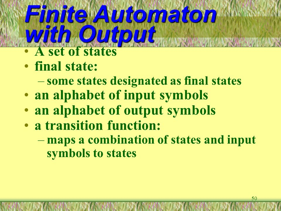 Finite Automaton with Output