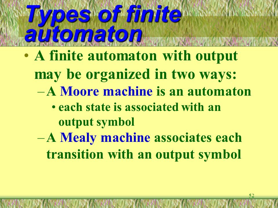 Types of finite automaton