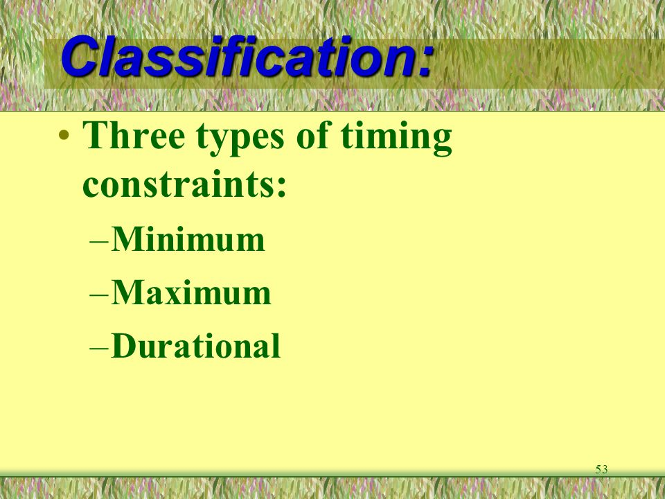 Classification: Three types of timing constraints: Minimum Maximum