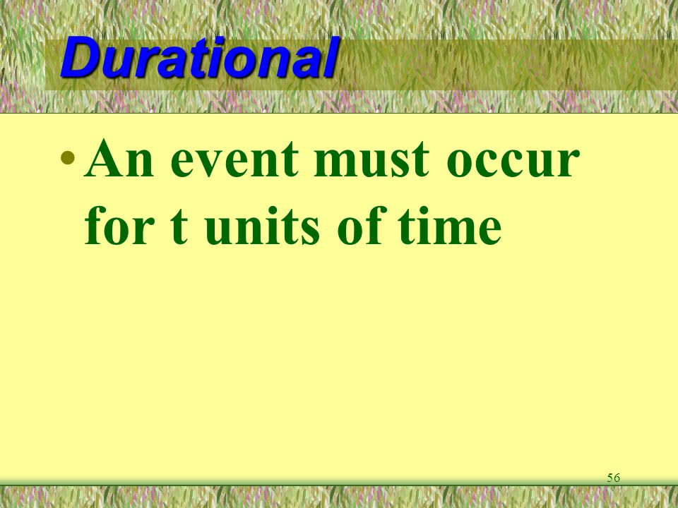 Durational An event must occur for t units of time