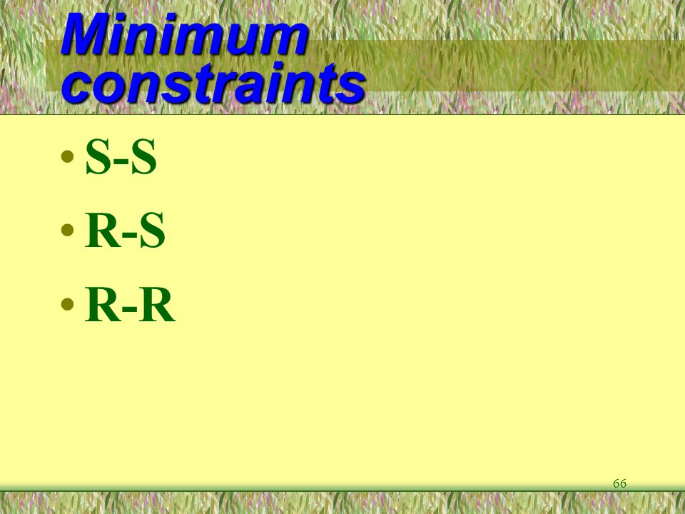 Minimum constraints S-S R-S R-R