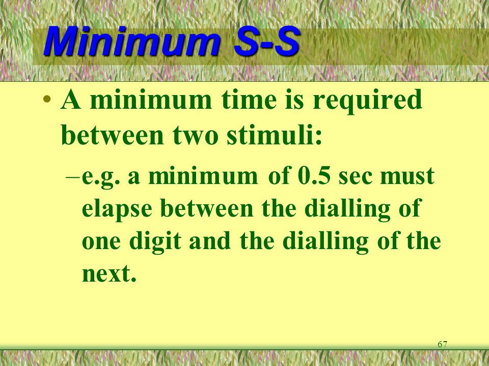 Minimum S-S A minimum time is required between two stimuli: