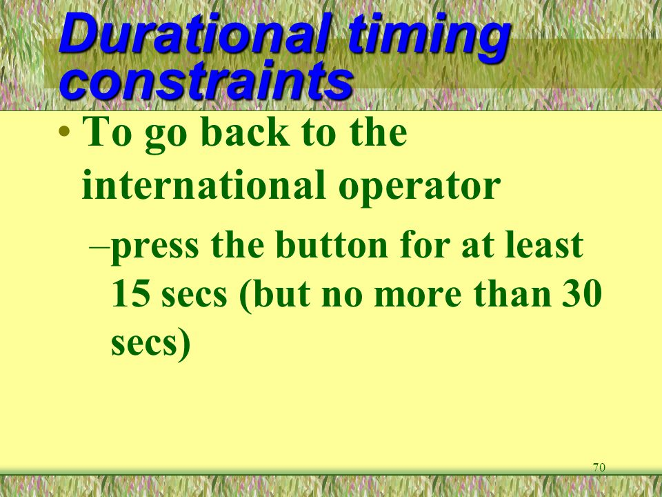 Durational timing constraints
