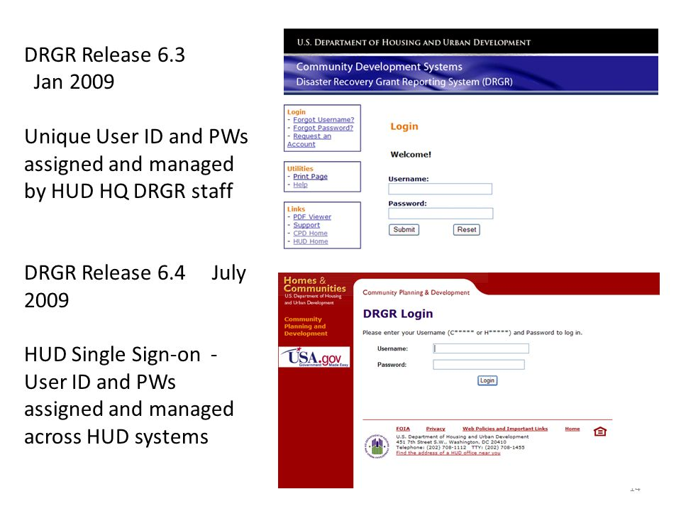 DRGR Release 6.3 Jan 2009 Unique User ID and PWs assigned and managed by HUD HQ DRGR staff DRGR Release 6.4 July 2009 HUD Single Sign-on - User ID and PWs assigned and managed across HUD systems