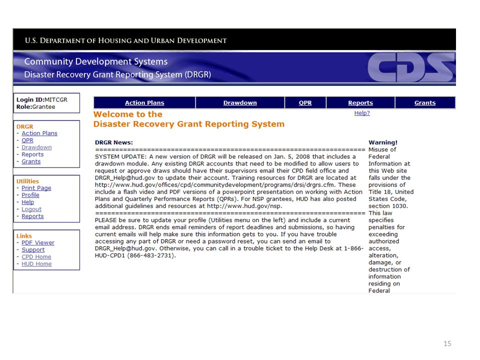 Screenshot of the Disaster Recovery Grant Reporting System (DRGR) Welcome Screen.