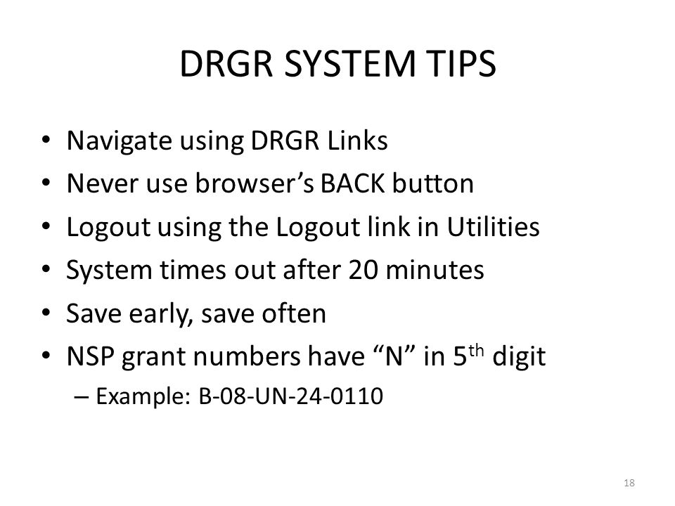 DRGR SYSTEM TIPS Navigate using DRGR Links