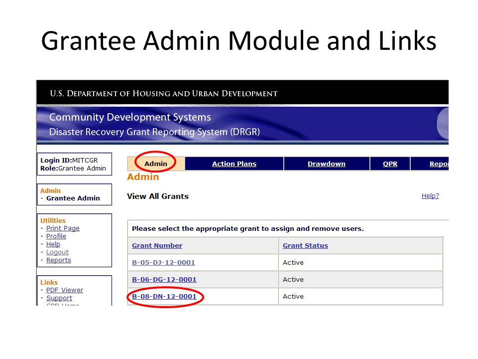 Grantee Admin Module and Links