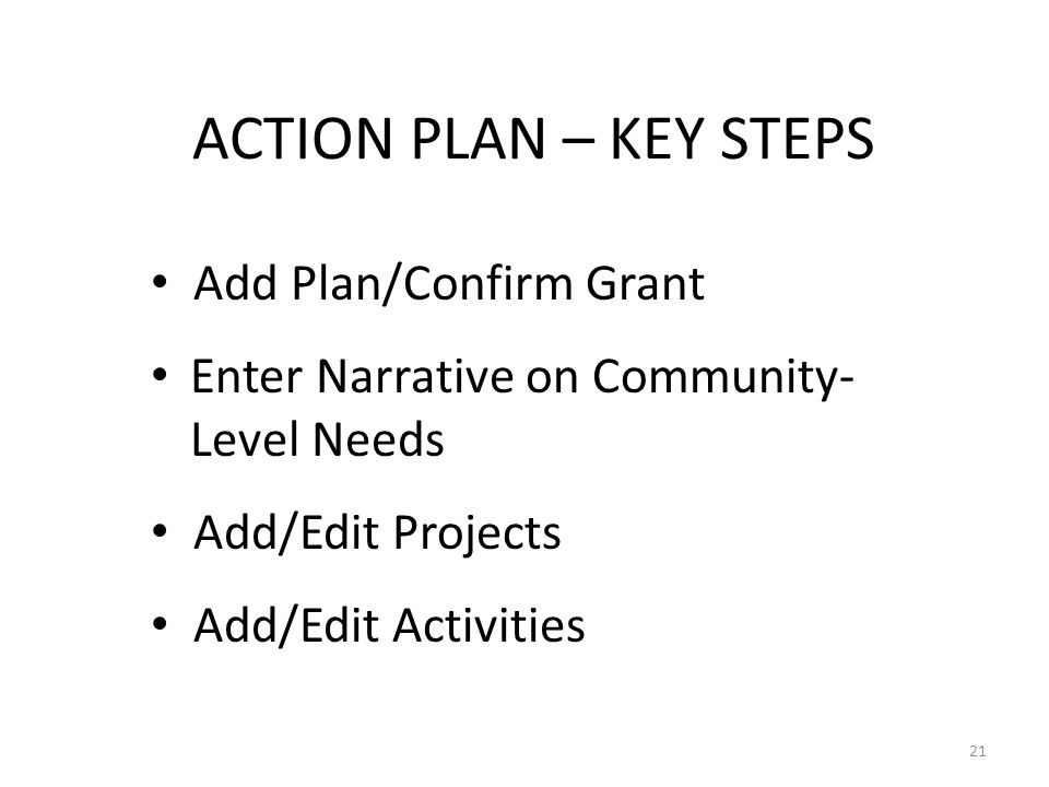 ACTION PLAN – KEY STEPS Add Plan/Confirm Grant