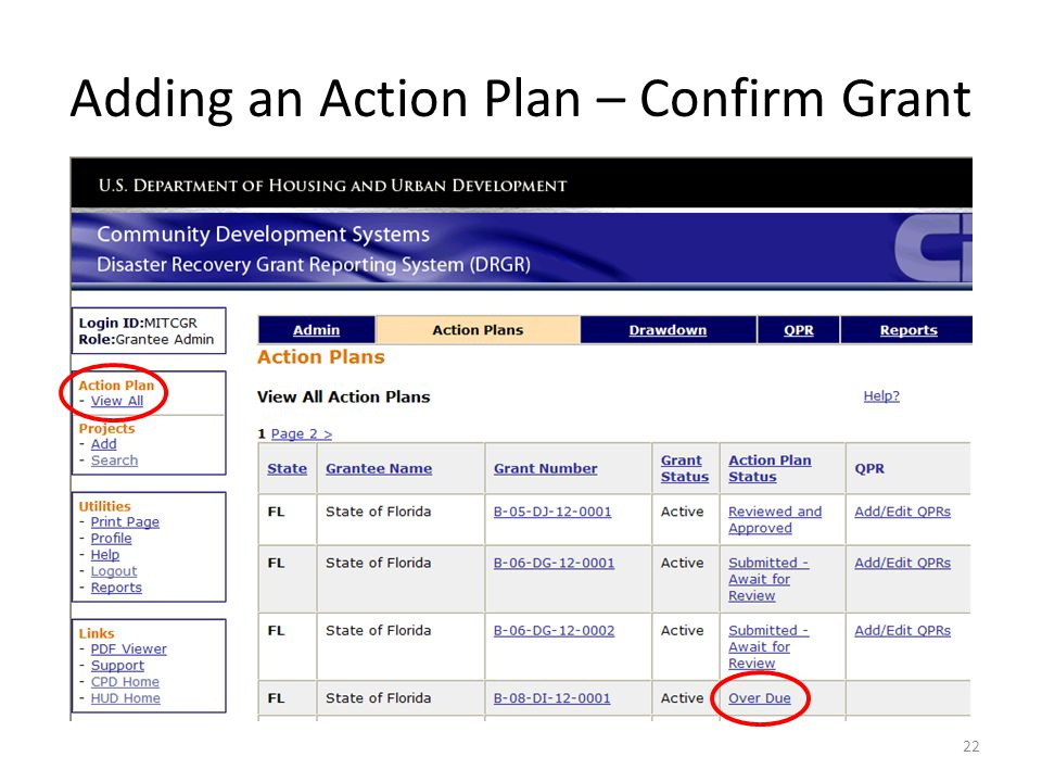 Adding an Action Plan – Confirm Grant