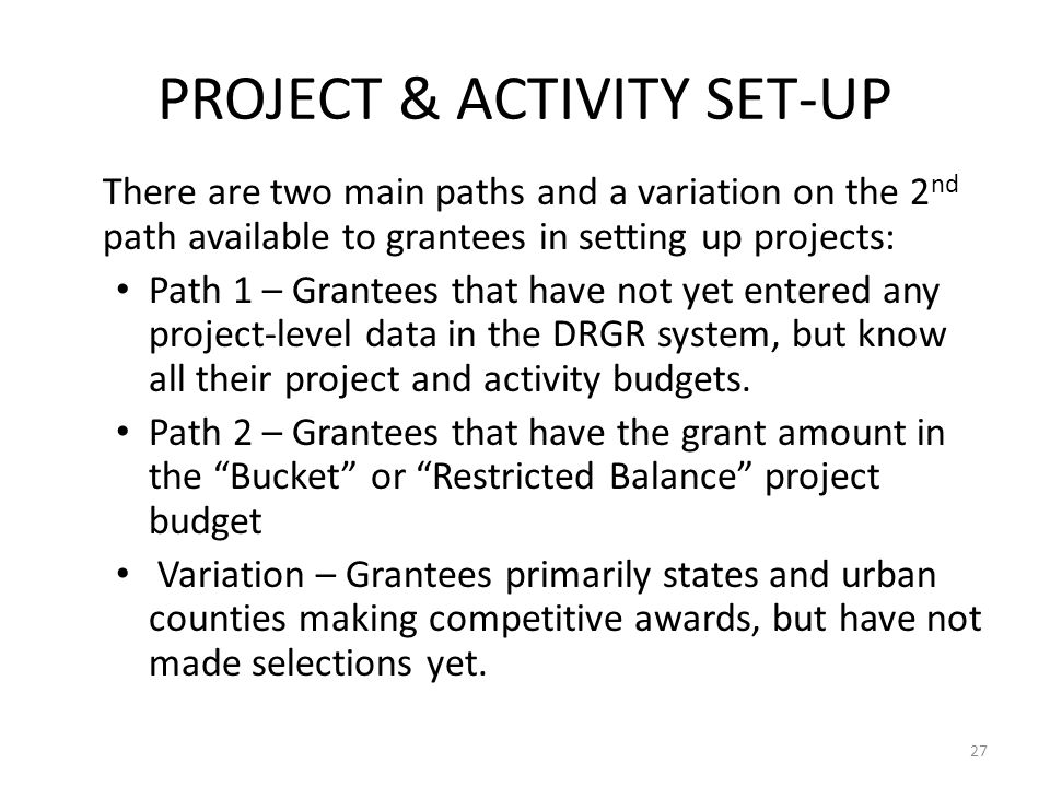 PROJECT & ACTIVITY SET-UP