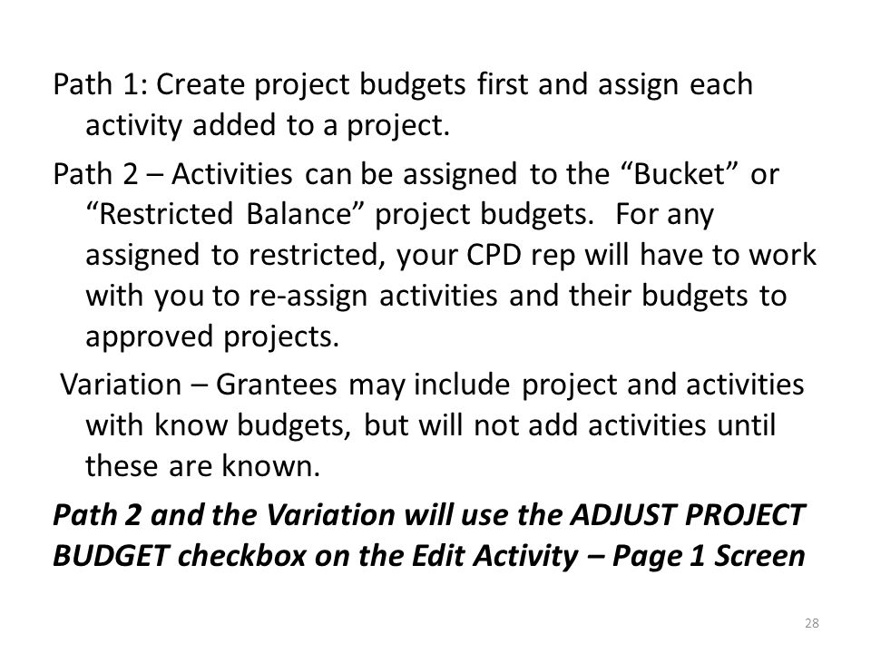 Path 1: Create project budgets first and assign each activity added to a project.