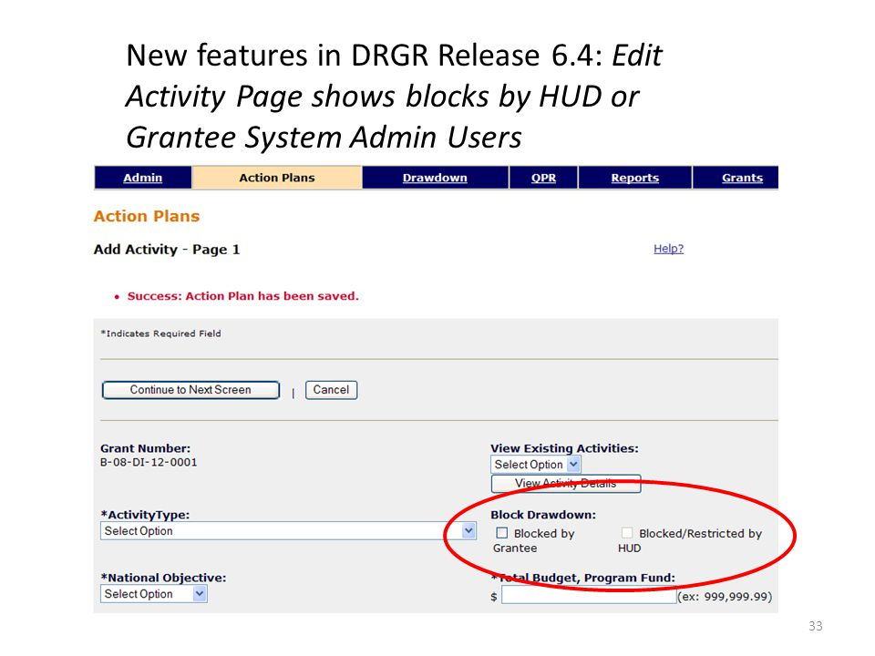 New features in DRGR Release 6