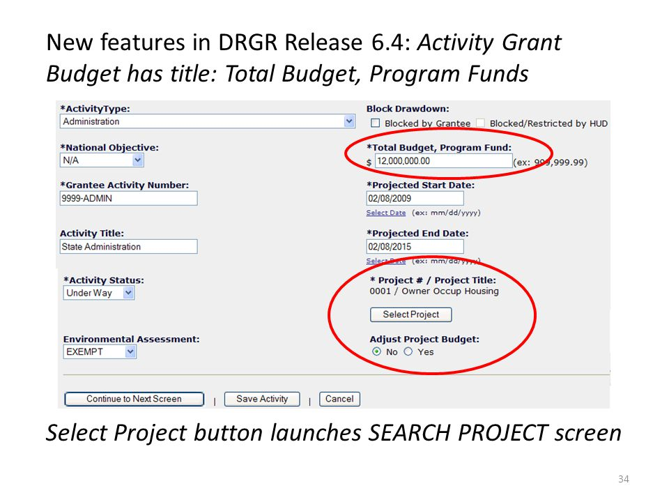 Select Project button launches SEARCH PROJECT screen