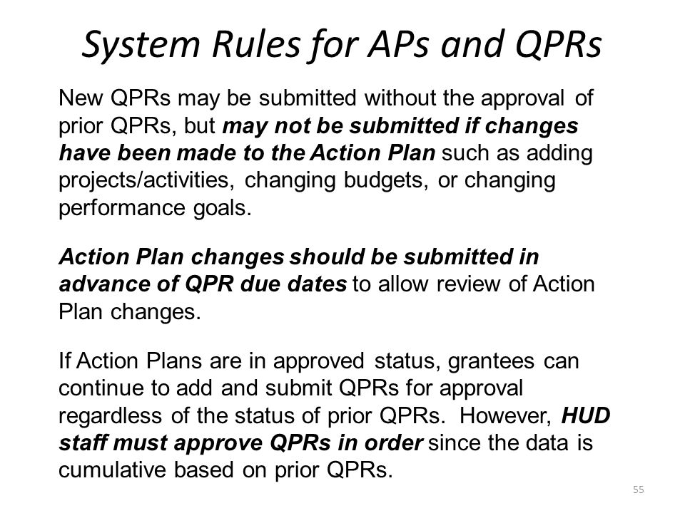 System Rules for APs and QPRs