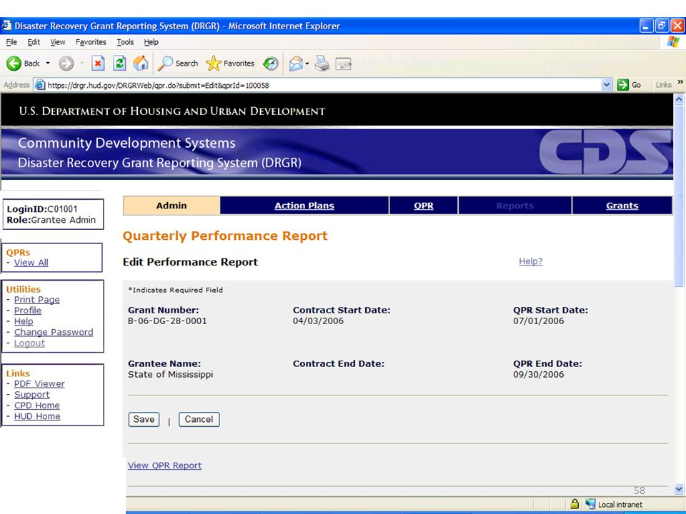 Once a report is selected for editing, basic information will be displayed on the grant and contract.