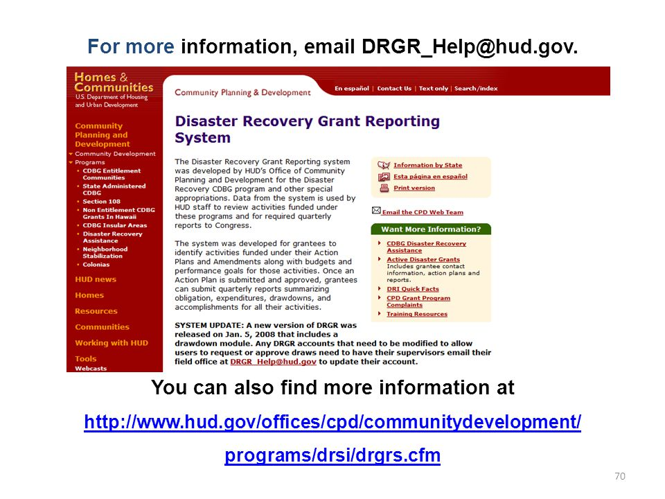 For more information, email DRGR_Help@hud.gov.