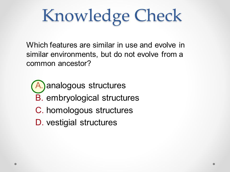 Knowledge Check analogous structures embryological structures