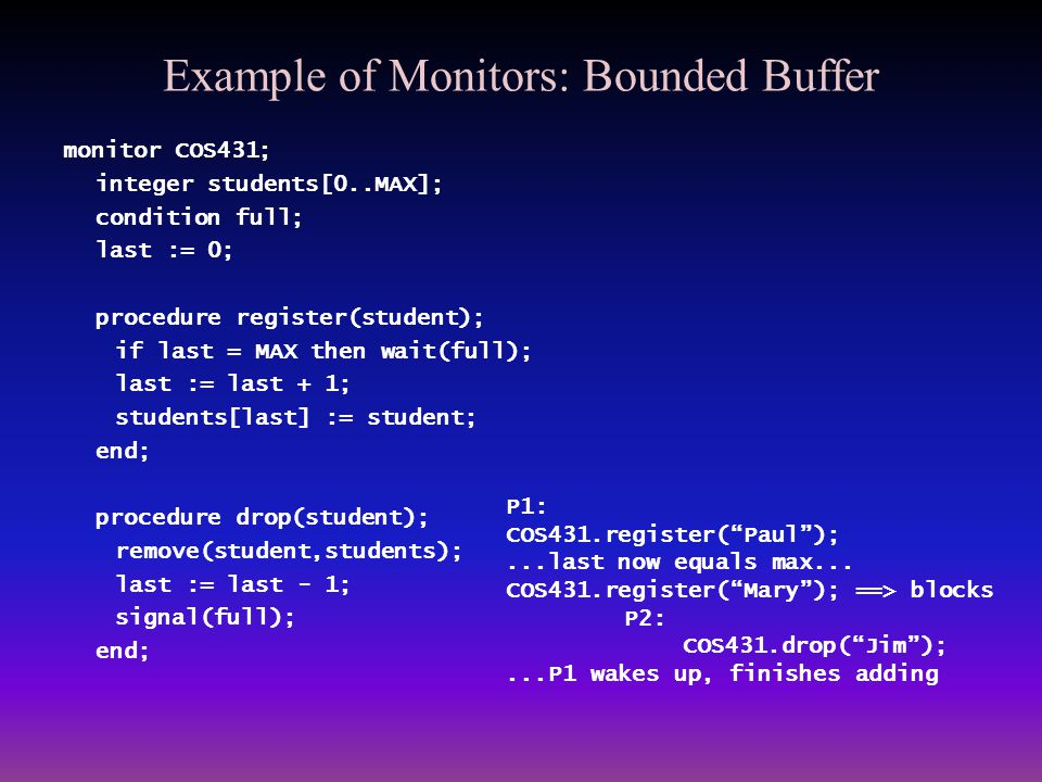 Example of Monitors: Bounded Buffer