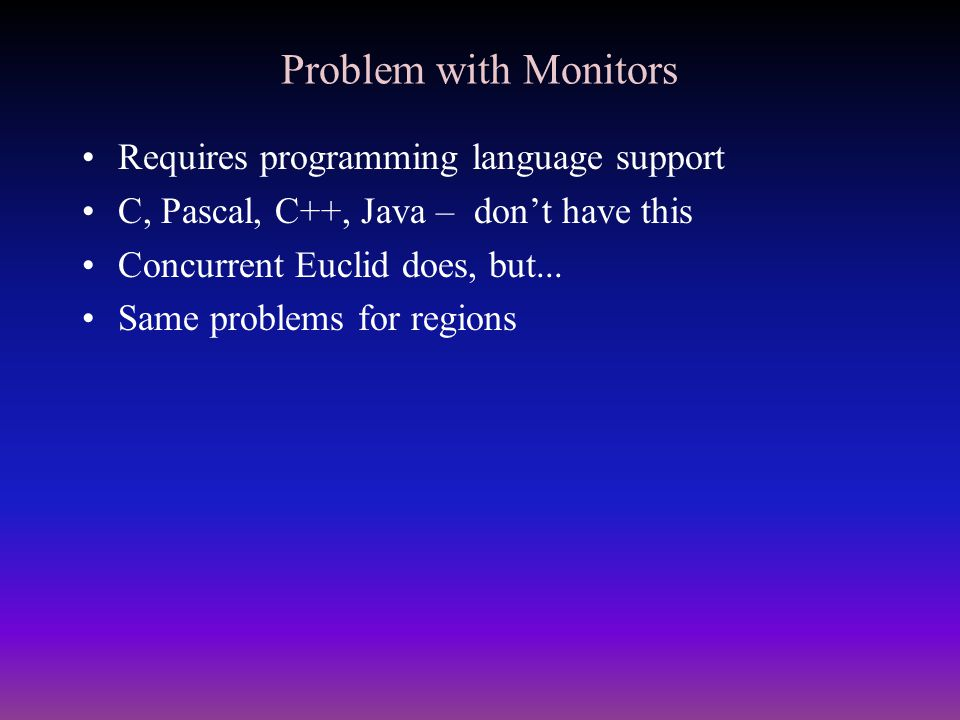 Problem with Monitors Requires programming language support