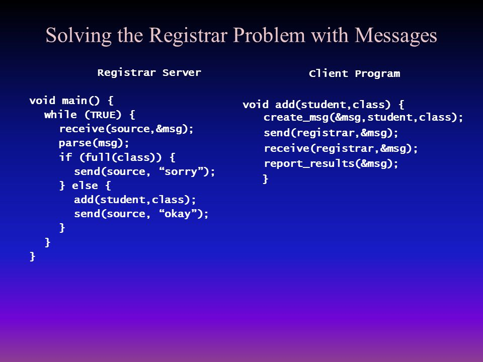 Solving the Registrar Problem with Messages
