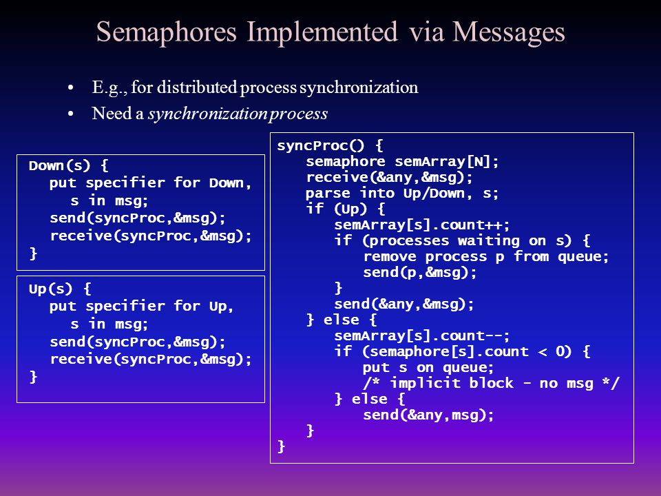 Semaphores Implemented via Messages