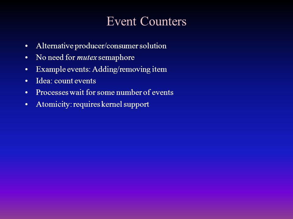 Event Counters Alternative producer/consumer solution