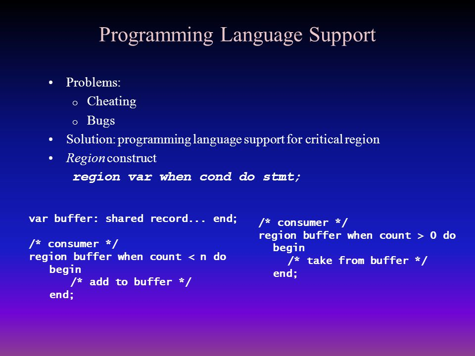 Programming Language Support