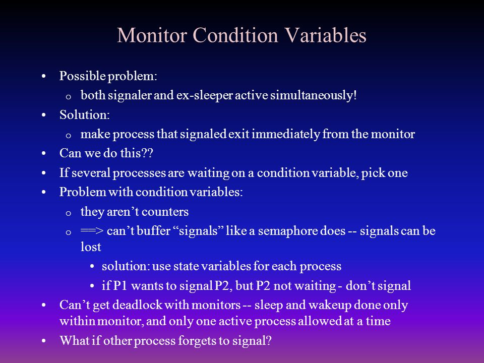 Monitor Condition Variables