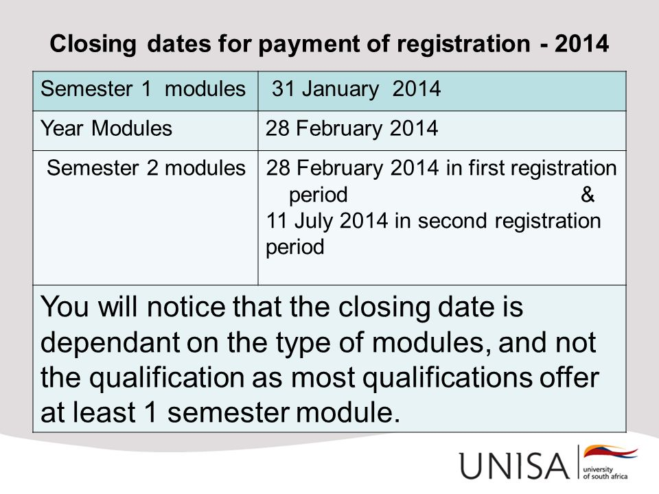 Closing dates for payment of registration - 2014