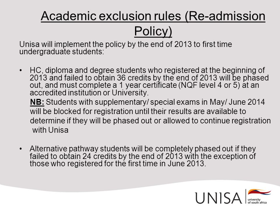 Academic exclusion rules (Re-admission Policy)