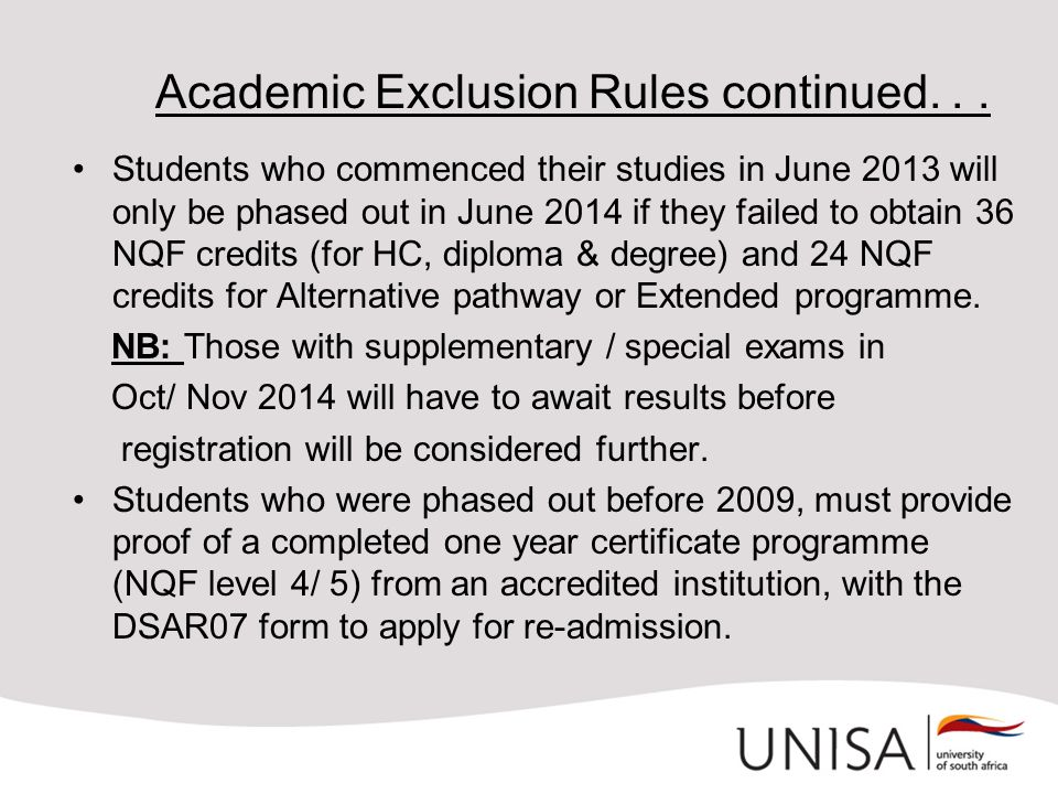 Academic Exclusion Rules continued. . .