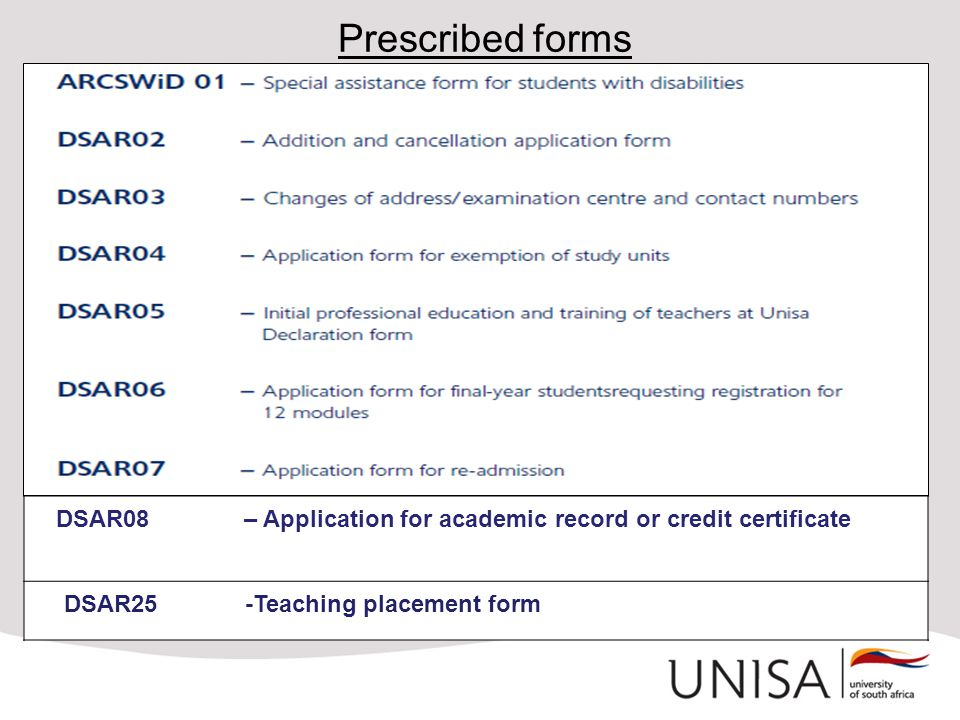 Prescribed forms DSAR08 – Application for academic record or credit certificate.