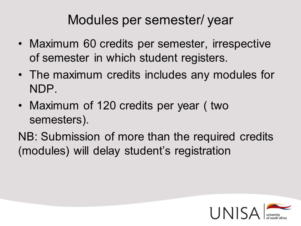 Modules per semester/ year