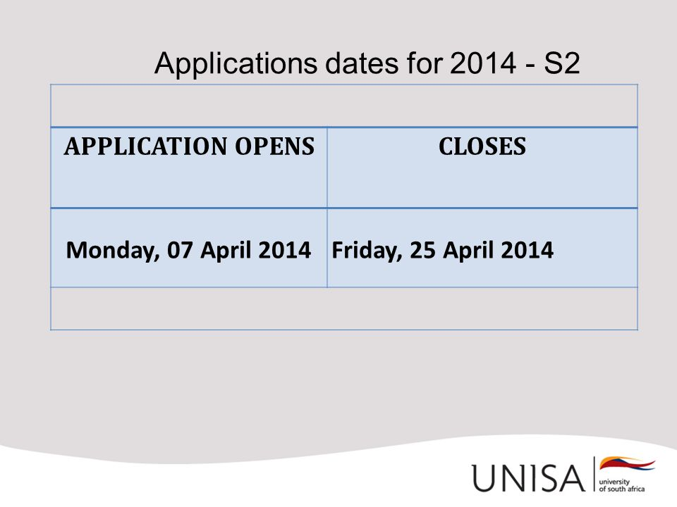Applications dates for 2014 - S2