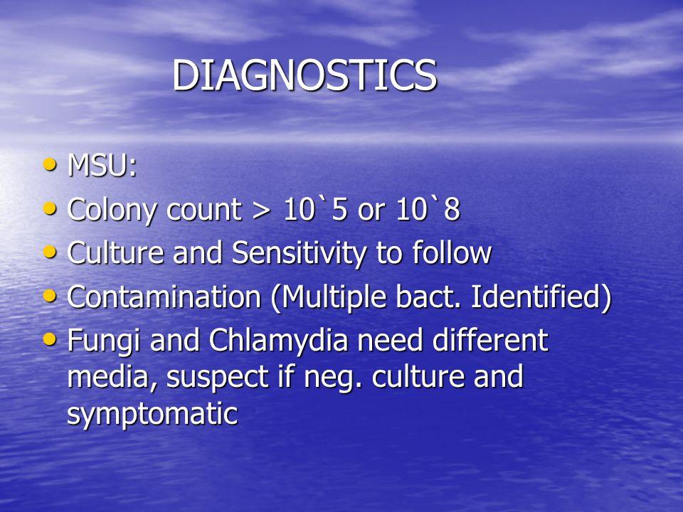 DIAGNOSTICS MSU: Colony count > 10`5 or 10`8