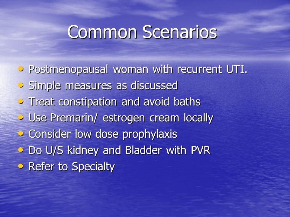 Common Scenarios Postmenopausal woman with recurrent UTI.