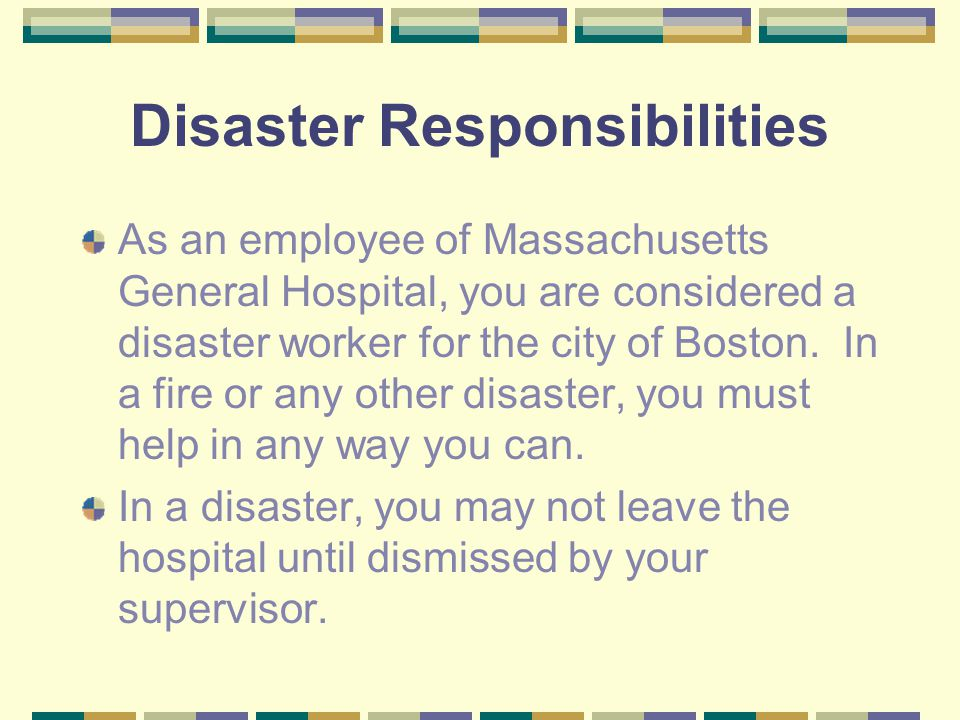 Disaster Responsibilities