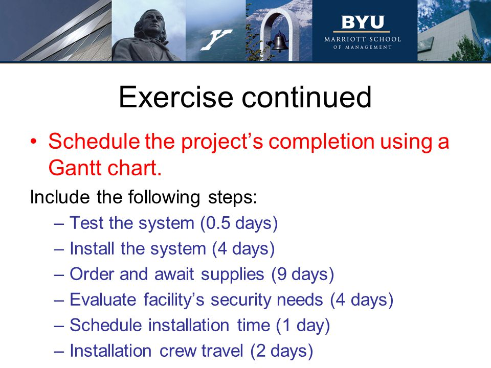 Exercise continued Schedule the project's completion using a Gantt chart. Include the following steps: