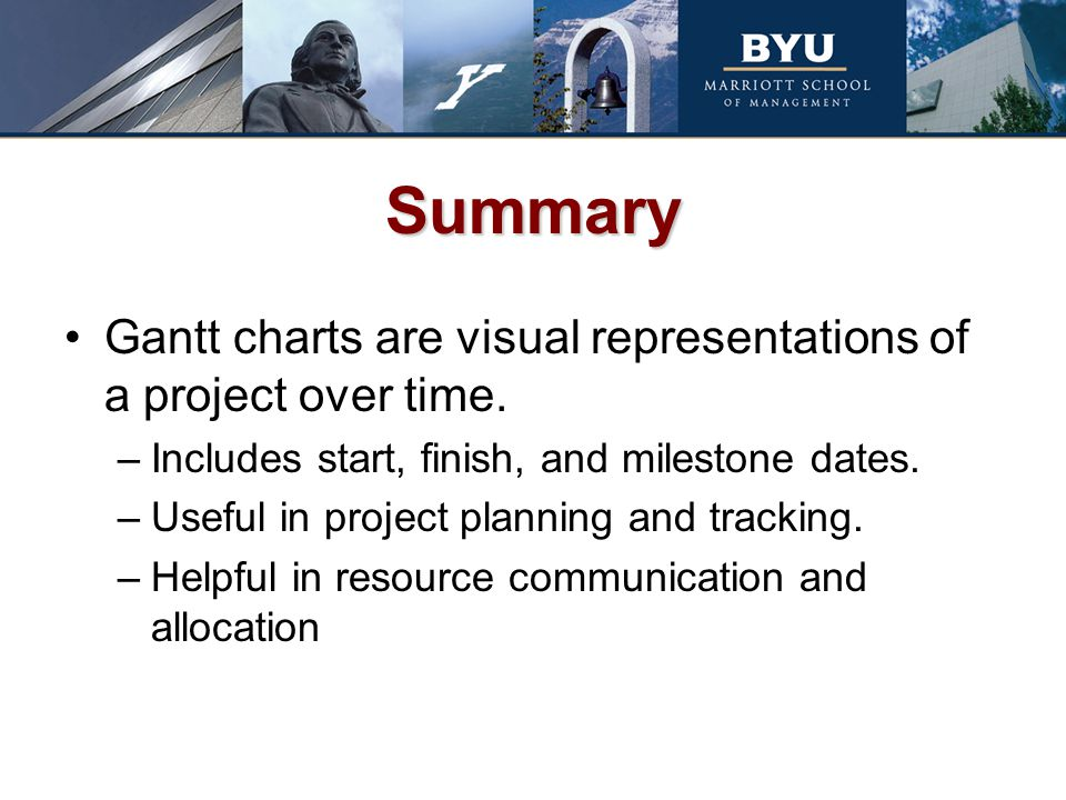 Summary Gantt charts are visual representations of a project over time. Includes start, finish, and milestone dates.