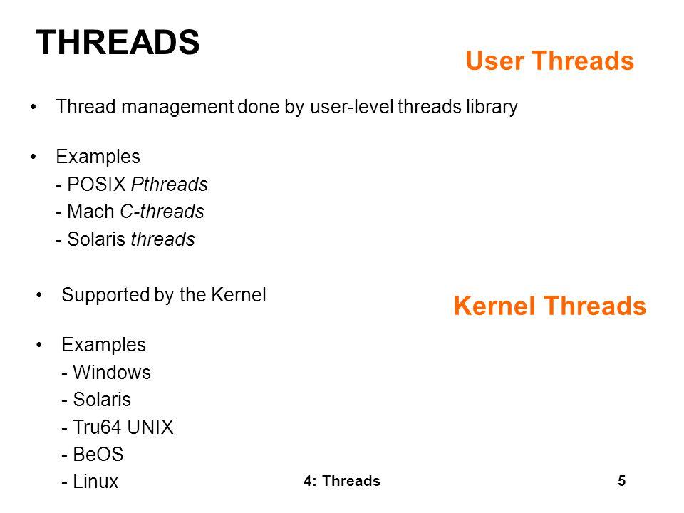 THREADS User Threads Kernel Threads