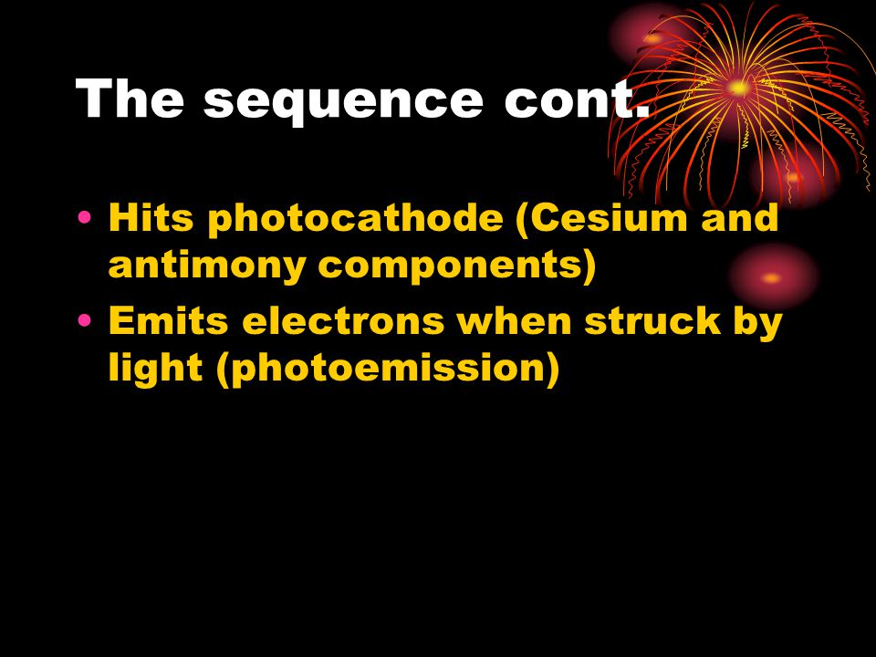 The sequence cont. Hits photocathode (Cesium and antimony components)