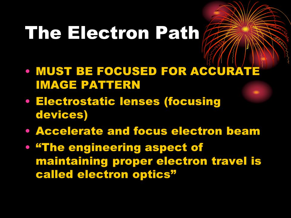 The Electron Path MUST BE FOCUSED FOR ACCURATE IMAGE PATTERN