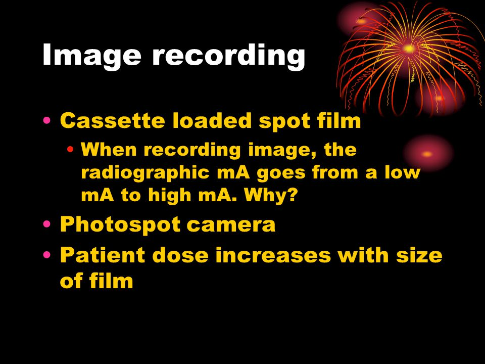 Image recording Cassette loaded spot film Photospot camera