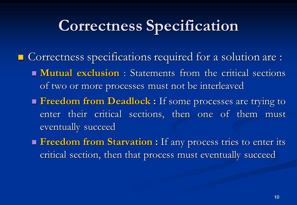 Correctness Specification
