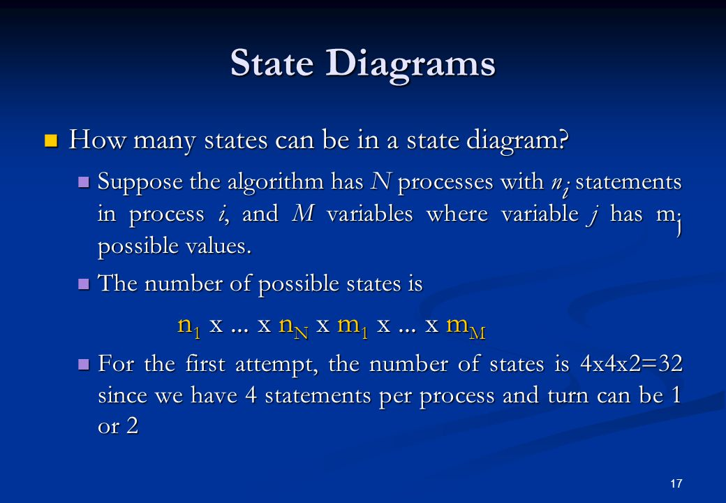 State Diagrams How many states can be in a state diagram