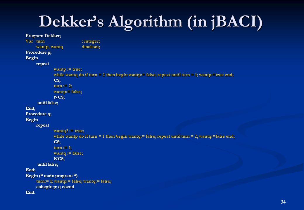Dekker's Algorithm (in jBACI)