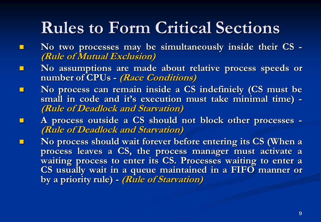 Rules to Form Critical Sections